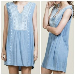 Embroidered Chambray Denim Tunic Dress Top